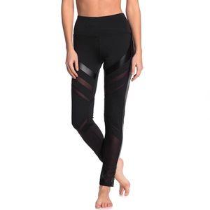 Electric yoga black striped sheer mesh leggings